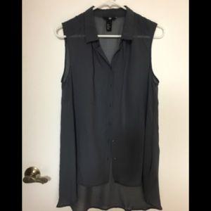 H&M Long sheer deep grey blouse